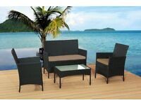 4Pc Piece BLACK Rattan Garden Furniture Lounge Sofa Chair Table Set Outdoor