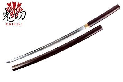 Full Tang Handmade Japanese Shirasaya Sword Samurai Katana w/ Burgundy Scabbard