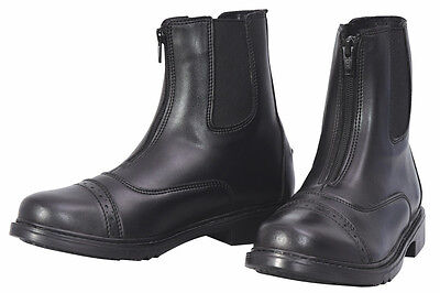 Front Zip Boots - TuffRider Ladies Starter Front Zip Paddock Boots - BLACK Faux Leather Soft Suple
