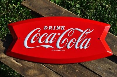 Coca-Cola Arciform Embossed Tin Metal Sign - Fishtail - Retro - - Coke Metal