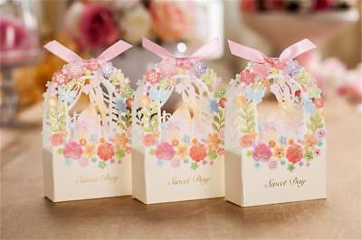 25-100PCS Paper Gift Boxes Wedding Candy Box Guests Pink Flower Paper Gift Bag - Pink Gift Box