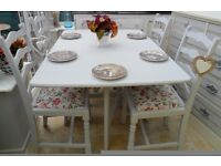 Shabby chic, hand painted drop leaf table and 4 x upholstered chairs
