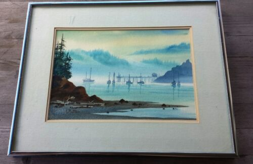Ann Rutter Watercolor of Fishing Harbor, Signed – Pacific Northwest Artist