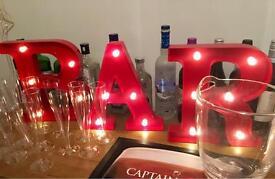 Plastic glasses, champagne flutes, party glasses