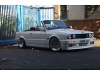 BMW E30 CONVERTIBLE WHITE MTEC 2 BBS STYLE RED LEATHER CLASSIC SHOW STANCE RARE