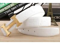 Hermes white & gold belt with box available