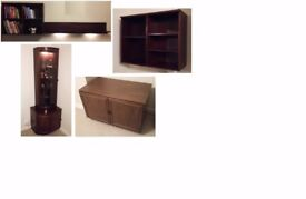 Dark Wood Furniture: Shelf Units x2, Long Shelf (+Lights), Corner Unit (Glass Door +Light), Cabinet