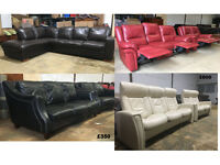 Harveys, DFS, John Lewis leather sofas, corners, recliners, black DELIVERY AVAILABLE