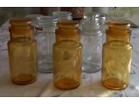 "Eight different sized storage jars and kilner jars. Average size 7""high."
