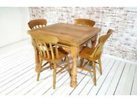 Dining Table Set Drop Leaf Folding, Ergonomic, Space Saving, Extendable Extending Rustic Farmhouse