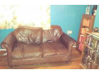 Free Laura Ashley Leather Sofa, seen better days but still ok