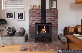 Henley 12kw Multifuel stove, Hearth & 6 meters of Flue Pipe