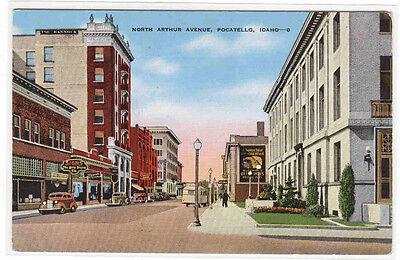 North Arthur Avenue Cars Pocatello Idaho Linen Postcard