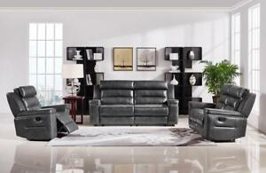 Faded Black Comfortable Recliner Set in Leather - Ross (GL08-6238) (BD-1322)