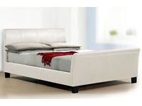 Quality White Leather Kingsize Bed £70 X Display Model