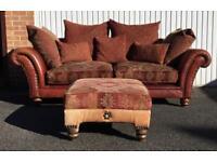 *STUNNING* Grandi Tetrad Eastwood 2-3 Seater Sofa- Buffalo Hyde Leather with footstool