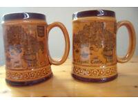 ONE Vintage Mont Orgueil Castle,Jersey,C. I./Jersey Cow-Calf ceramic souvenir mug/tankard/beer stein