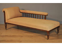 Attractive Large Antique Edwardian Mahogany Day Bed Chaise Longue Sofa