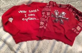 Girls Christmas jumpers. Aged 8 years. Perfect condition