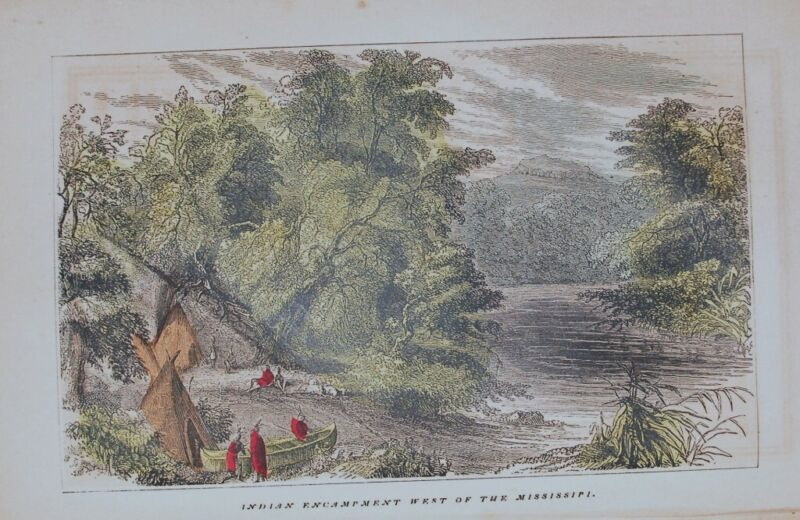 1857 ENGRAVING AMERICAN WESTERN INDIAN CAMP TEPEE CANOS