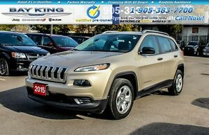 2015 Jeep Cherokee SPORT, REAR CAM, REMOTE START, HTD SEATS, A/C
