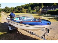 Classic Wooden Retro Speed Boat 1962 Broom with Outboard Trailer and Canopy