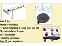 Tv aerials installed + Tv wall mounting + cctv installation and repairs same day service available