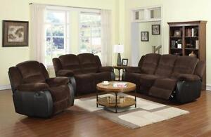 2 PC SOFT LUXURIOUS CHENILLE FABRIC RECLINER SOFA SET $1298