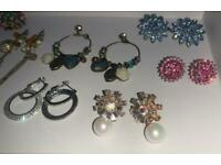 8 Joblot Earrings Mix Set - New/Used Mix & 2 Necklaces