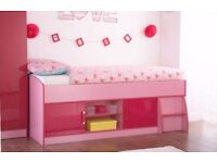 "2 tone Pink Gloss ""Ottowa"" storage cabin single bed girls"