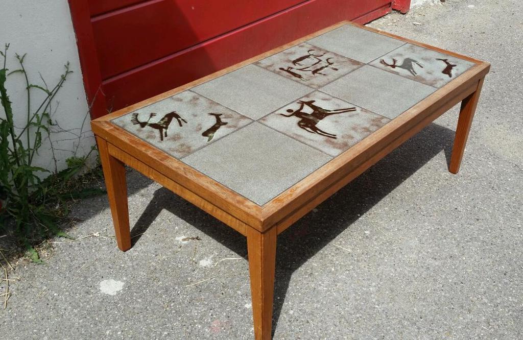 Danish Style Vintage 60 70s Retro Teak Coffee Table Tile Top Tribal Art Deer