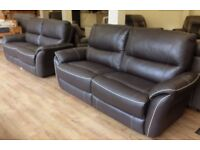 ScS TEO - Brown Leather 3+3 Seater Sofa Suite
