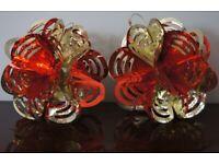 2 Red & Gold Hanging Foil Balls