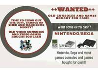 GAMES and CONSOLES WANTED FOR CASH - NINTENDO, SEGA, ATARI, GAMEBOY, PS1 etc