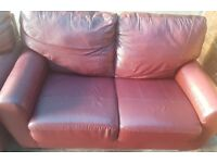 Lovely 3 & 2 seater leather sofas. Oxtail red.