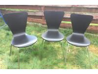Dining Chairs Three Black With Chrome Finish Wood Bases