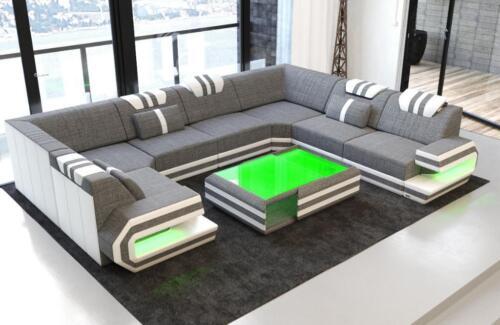 Stoff Wohnlandschaft Sofa Ragusa U Form Mit Led Beleuchtung In