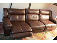 LEATHER LARGE RECLINER SOFA BROWN 3 SEATER AS NEW TOP QUALITY