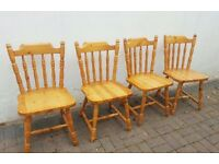 Four Solid Pine Farmhouse Chairs - Thick Stick Back - Very Comfortable Dining Chairs