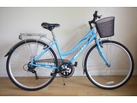 REFLEX CITY LADIES HYBRID BIKE AS NEW CONDITION PERFECT WORKING ORDER 18 INCH FRAME WITH BASKET