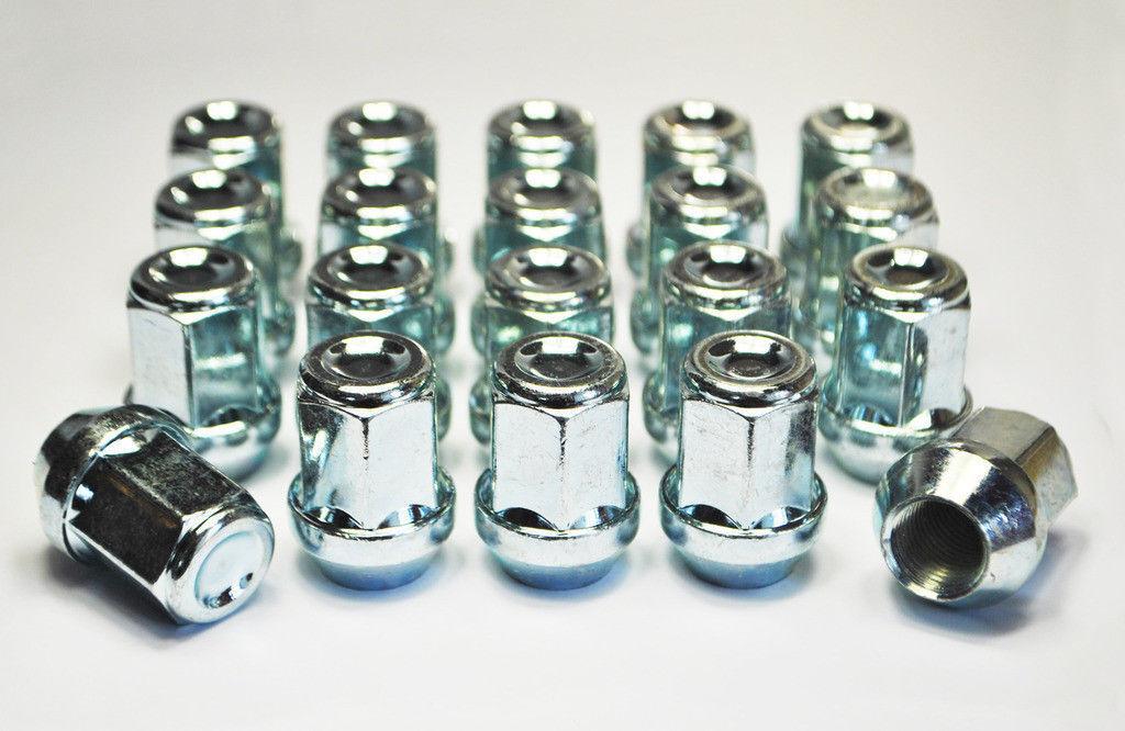Set di 20 x M12 x 1,25 Argento 17mm HEX Alloy Dadi Delle Ruote