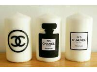 CHANEL PILLAR CANDLES ANY 2 FOR £7~ DIFFERENT DESIGNS AVAILABLE