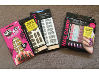 Nail art bundle - 3 Elegant touch nail wraps and 1 nail candy set