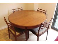 Vintage G Plan Mid Century Extending Dining Table + 4 Chairs