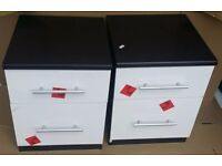 2 x Cologne Gloss 2 drawer Bedside Cabinets Black Frame/White Gloss Fronts Assembled.