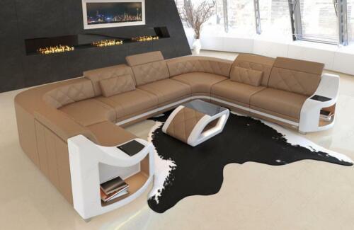 Leder Sofa Couch Wohnlandschaft Genua U Form Mit Led Beleuchtung In