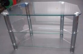 Glass & Chrome TV stand with 3 shelves