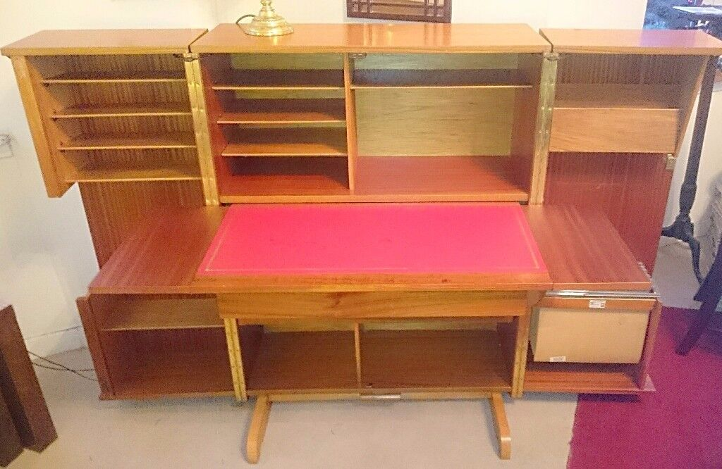 Compact Vintage 60s Home Office Desk Station Cupboard