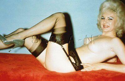 Vintage Nude 50s-60s 35mm Slide / Negative- Endowed Blond- Garter- Stockings #9