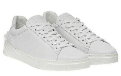 $750 Versace Men's Sculpted Medusa Leather Low Top Sneakers White Size 42, US 9